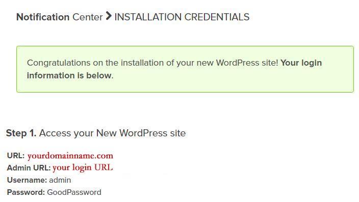 Step 17 - wordpress installation complete
