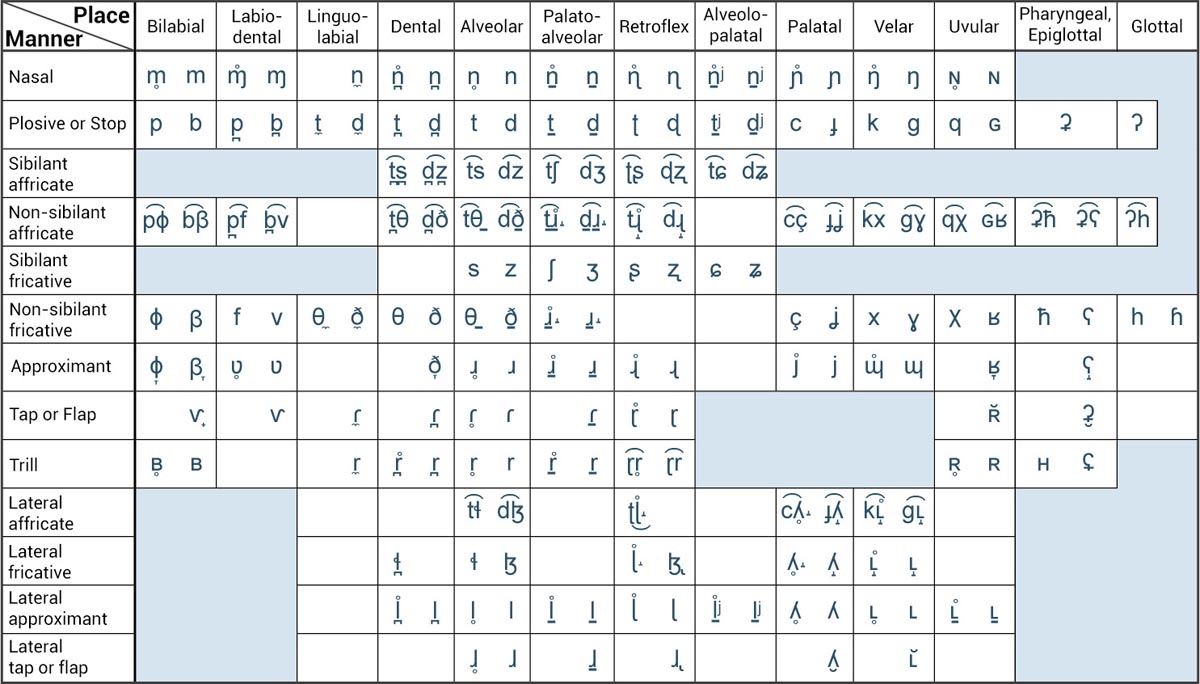 IPA Consonant Chart for Accent Reduction