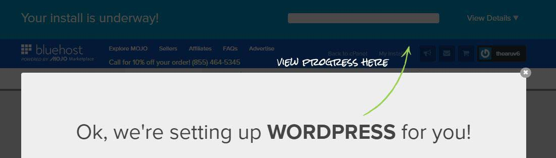 Step 14 - wordpress install progress