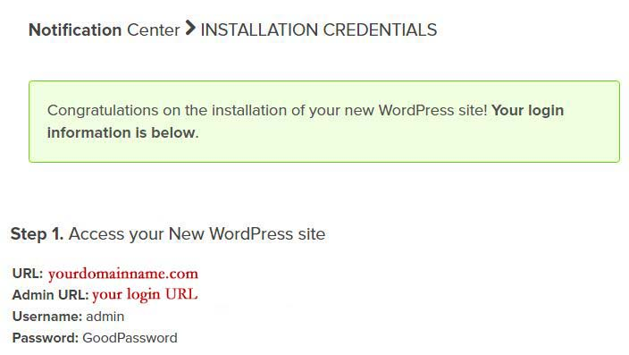 Step 17 - wordpress installation complete