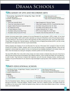 Drama Schools List